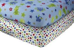 Little Bedding by NoJo Monster Babies - 2 Count Crib Sheet S