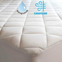 Mattress Protector 100% Cotton Quilted Waterproof Fitted Mat
