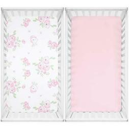 TILLYOU Microfiber Floral Crib Sheets for Girls, Pack of 2,