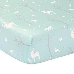 Mint Green Woodland Fitted Crib Sheet - 100% Cotton Sateen F