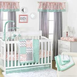 Mint, Coral and Grey Patchwork 3 Piece Baby Crib Bedding Set