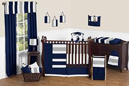 Modern Navy Blue and Gray Stripe Print Boys Baby Bedding 11
