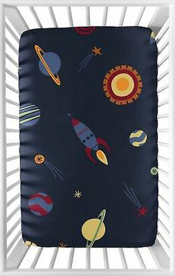 Navy Blue Baby or Toddler Fitted Mini Portable Crib Sheet fo