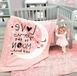 NEW Baby Girl Coral Pink Love You to the Moon And Back Crib