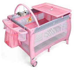 Pink Baby Crib Foldable Portable Bed Infant Playard Changing
