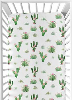 Pink Green Boho Watercolor Baby or Toddler Fitted Crib Sheet