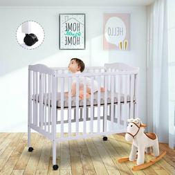 Portable Baby Crib - Toddler Bed Convertible Infant Kids Fur
