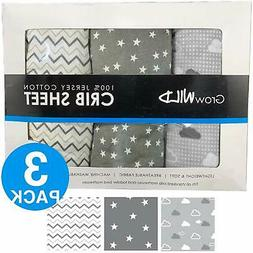 Premium Crib Sheets 3 Pack   Jersey Cotton Fitted Sheets for