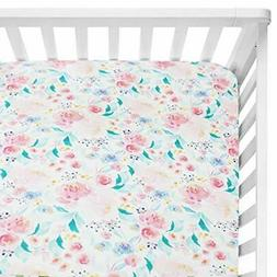 Sahaler Floral Crib Sheet for Girl Boy Baby Fitted Crib Shee