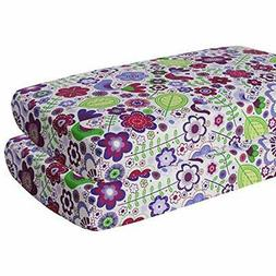 Bacati Sheets Crib Fitted Sheets, Botanical Purple  Baby