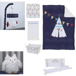 NoJo Teepee Crib Bedding, 4 Piece Set, Navy, Red, Ivory