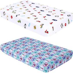 Ultra Soft Baby Crib Fitted Sheet, Printed Toddler Sheets fo