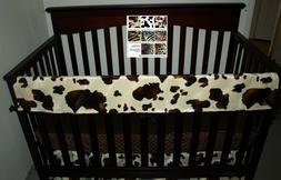 Western Baby Bedding Crib Rail Cover Bumperless Cow
